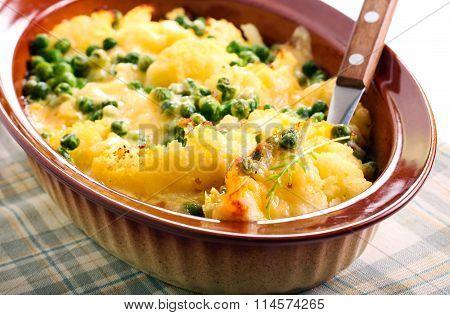 Cauliflower And Peas Gratin