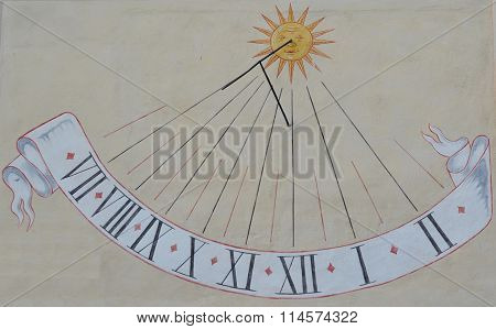 Sundial On The Wall Of The House, South Bohemia