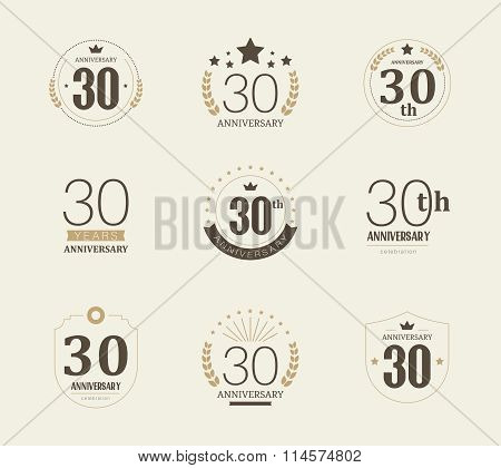 Thirty years anniversary celebration logotype. 30th anniversary logo collection.