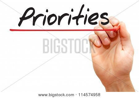 Hand Writing Priorities, Business Concept..