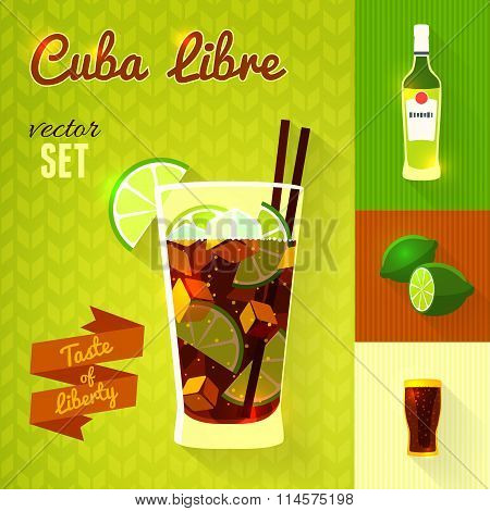 Cuba Libre Cocktail Set. Vector Illustration.