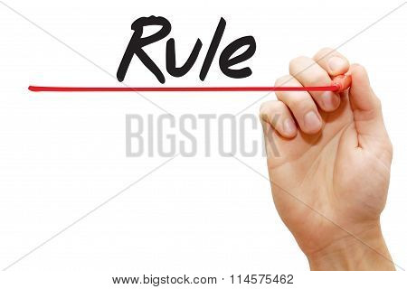 Hand Writing Rule, Business Concept..