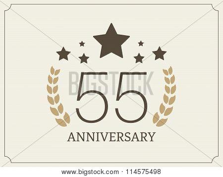 Fifty five years anniversary celebration logotype. 55th anniversary logo.