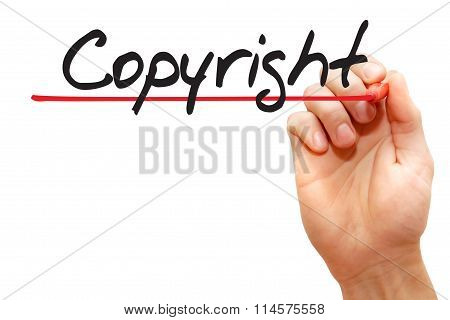 Hand Writing Copyright, Business Concept..