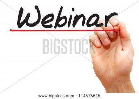 Hand Writing Webinar, Business Concept..