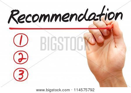 Hand Writing Recommendation List, Business Concept..