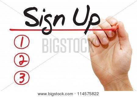 Hand Writing Sign Up List, Business Concept..
