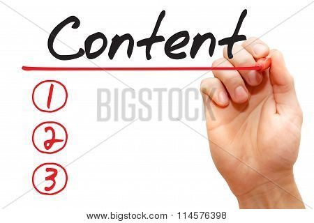 Hand Writing Content List, Business Concept..