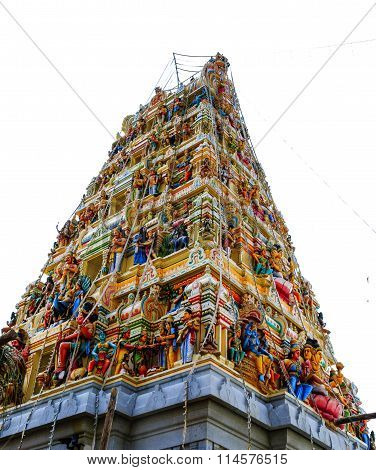 CHIKKABALLAPUR JANUARY 16TH, 2016: Artistic gopuram or entrance pillar of Ghati Subramanya temple