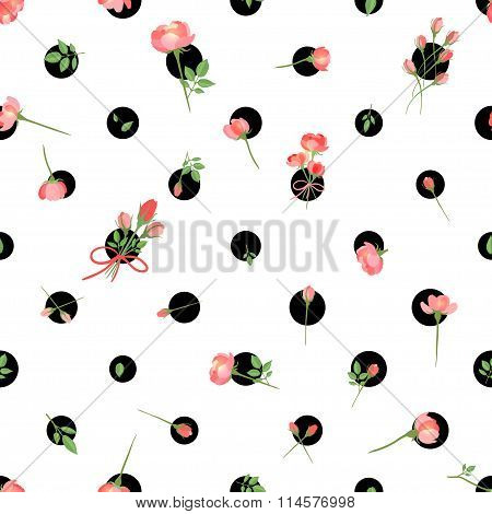 Polka Dot Seamless Pattern With Flowers. Vector Illustration, Eps10.