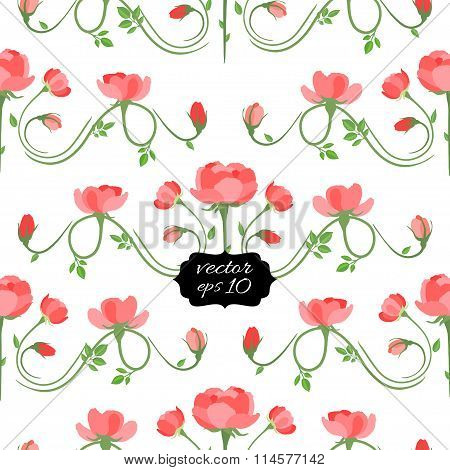 Seamless Floral Pattern With Roses. Vector Illustration, Eps10.
