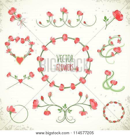Set Of Vintage Floral Frames And Vignettes. Vector Illustration, Eps10.