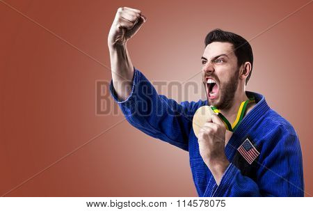 American judoka fighter on red background