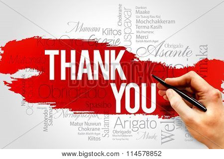 Thank You word cloud business concept, presentation background