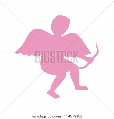 Silhouette Of Cupid. Saint Valentine.
