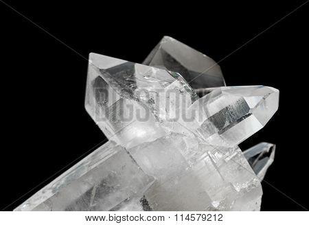 Transparent Rock Crystals On Black
