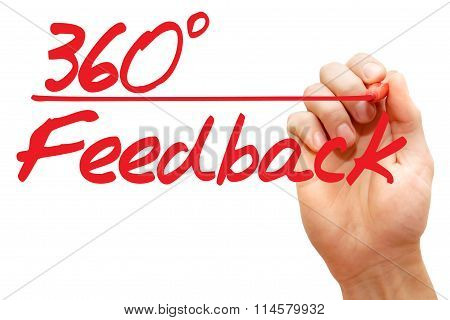 Hand Writing 360 Degrees Feedback, Business Concept..