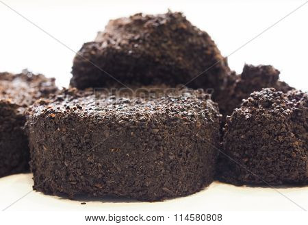 Used Coffee Grounds On White Background