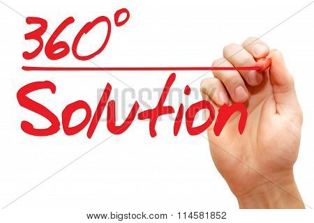 Hand Writing 360 Degree Solution, Business Concept..