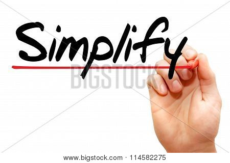 Hand Writing Simplify, Business Concept..