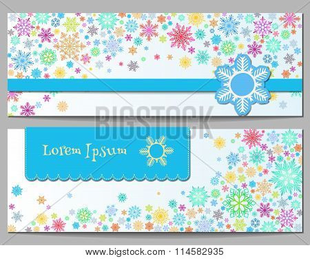 Color snowflakes Banner. Template design