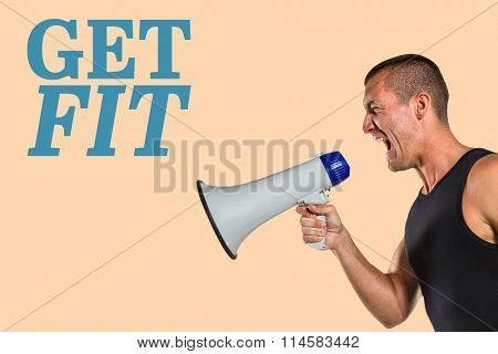 Irritated male trainer yelling through megaphone against orange background
