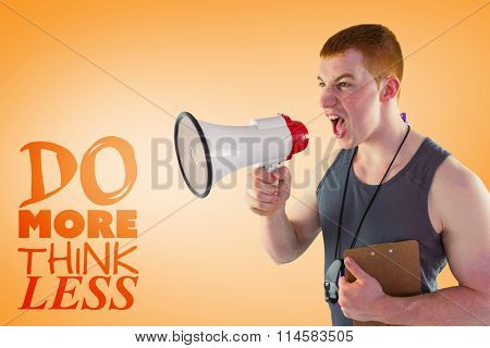 Angry personal trainer yelling through megaphone against orange vignette