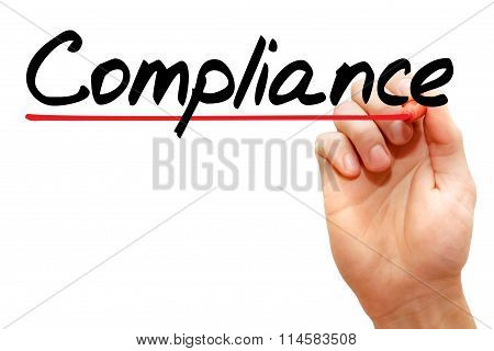 Hand Writing Compliance, Business Concept