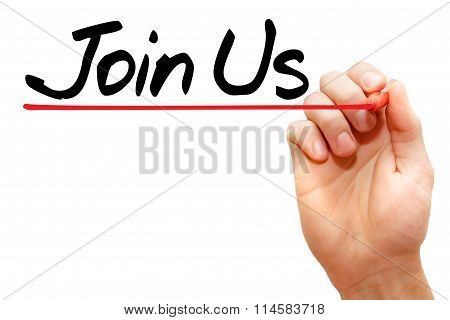 Hand Writing Join Us, Business Concept..