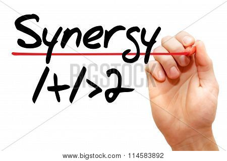 Hand Writing Synergy 1+1>2, Business Concept..