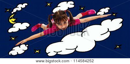 Happy little girl flying.