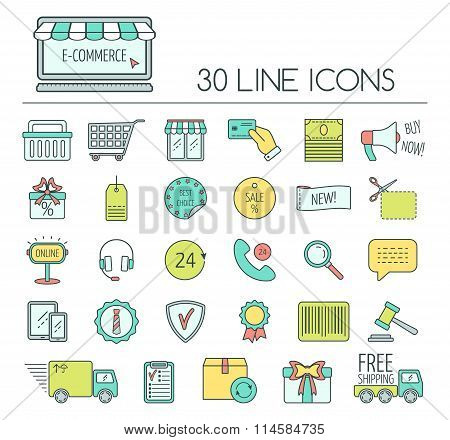 Set Of E-commerce Line Icons. Color Modern Line Icons For Business, Web Development And Landing Page