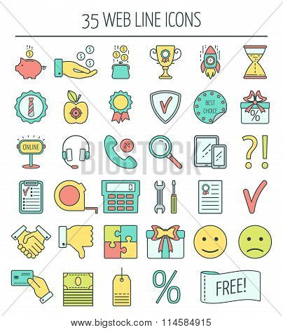 35 Linear Web Icons. Color Moder Line Icons For Business, Web Development And Landing Page. Flat Des