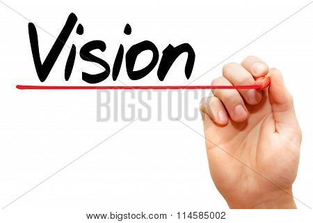 Hand Writing Vision, Business Concept..