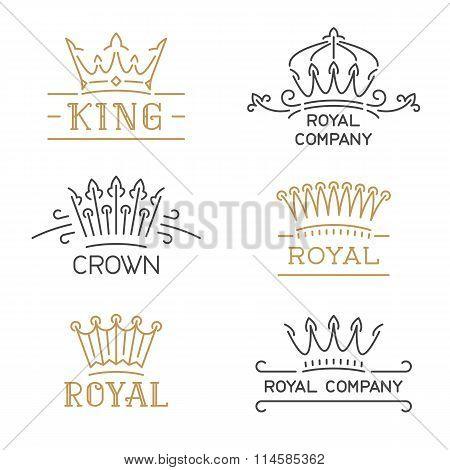 Crown logo set. Luxury crown in trendy line style.