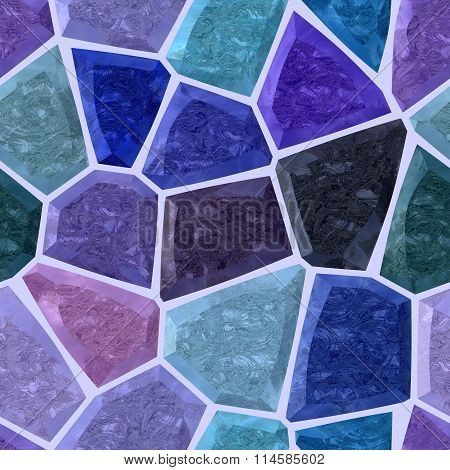 Purple, Blue And Marble Irregular Stony Mosaic Seamless Pattern Texture Background