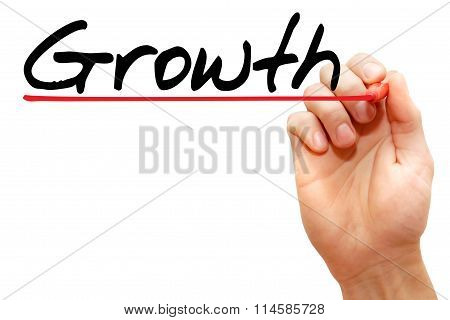 Hand Writing Growth, Business Concept