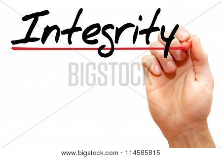 Hand Writing Integrity, Business Concept