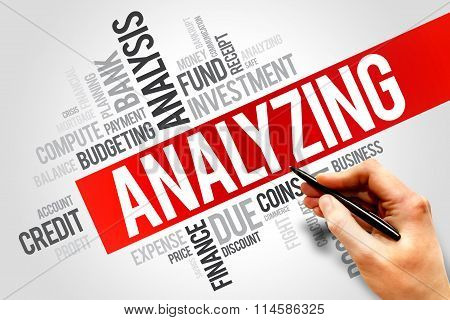 ANALYZING word cloud business concept, presentation background