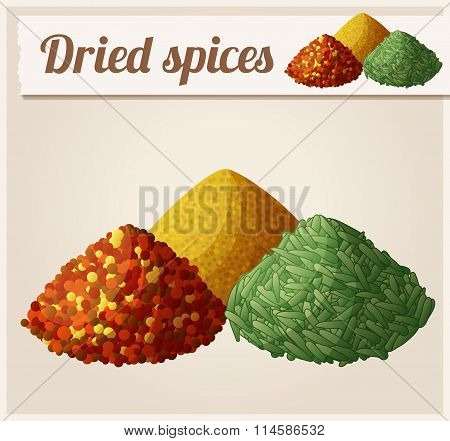 Dried spices. Detailed Vector Icon