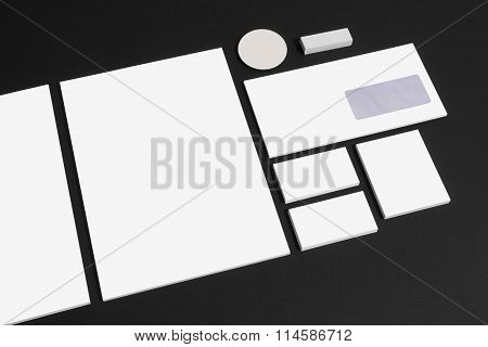 Set of office stationery for brand presentation on black