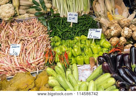 Choice of vegetables at a market