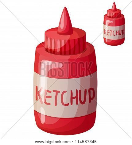 Ketchup isolated on white background. Detailed Vector Icon