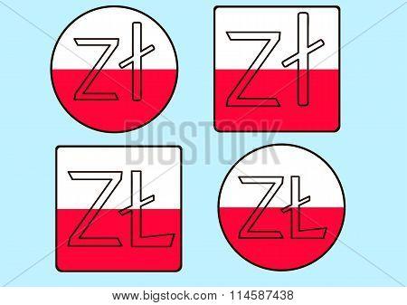 Set Web Flat Icons Polish Zloty