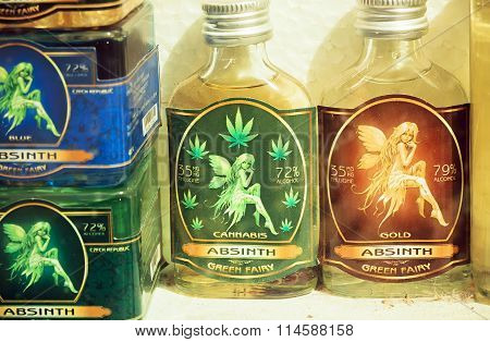 Small Bottles Of Absinthe, Spirits, Causing Hallucinations