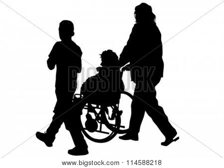 Silhouettes wheelchair and women on white background