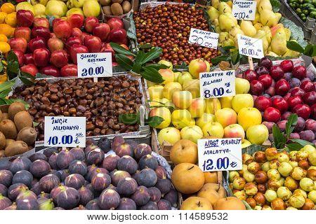 Great variety of fruits at a market