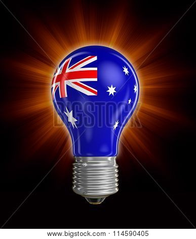 Light bulb with Australian flag.  Image with clipping path