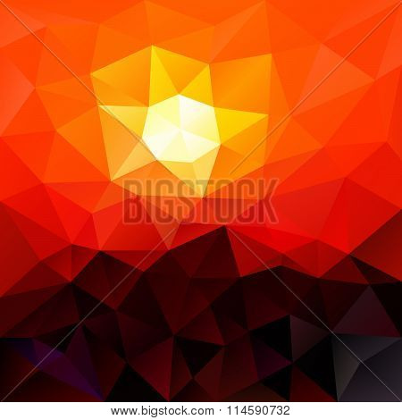 Vector Polygon Background With Irregular Tessellation Pattern - Triangular Geometric Design In Red