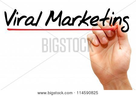 Hand Writing Viral Marketing, Business Concept..